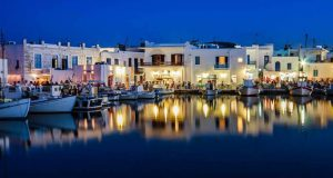 Night photo of Naoussa on Paros Greece - a great spot to visit with or without a car.