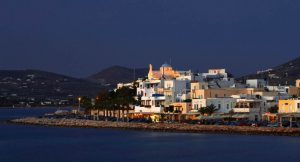 Image of Parikia, on Paros Greece, at night.