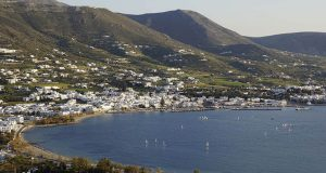 Panoramic image of Parikia town on Paros Greece - this is where our car rental agency is located.